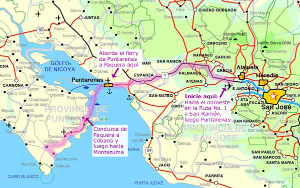 Mapa de San José a Montezuma